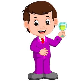 ワインの一杯の男