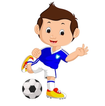 サッカーをしている漫画の少年