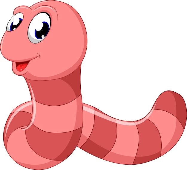 Симпатичный розовый червячный мультфильм