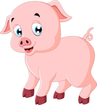 Симпатичная свинья мультфильм