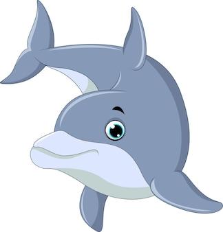 Плавание дельфин, изолированных на белом фоне