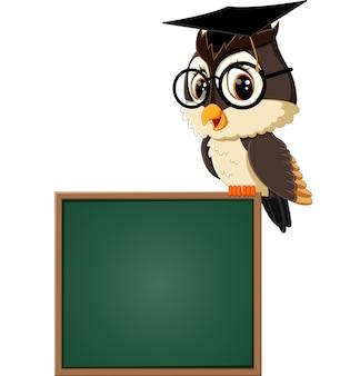 Иллюстрация сова учитель на доске