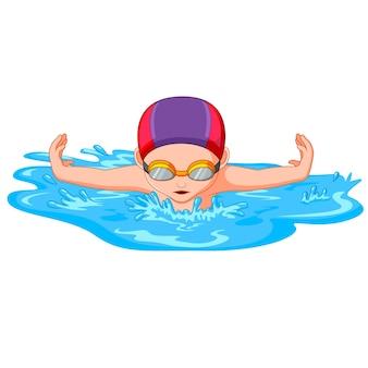 スポーツ競技のための水泳中の水泳者