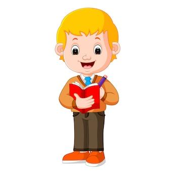 鉛筆を持っている少年