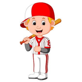 Мультфильм мальчик играет в бейсбол