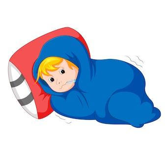 病気の子供がベッドに横たわっている