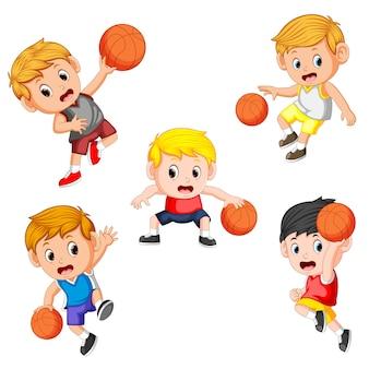 バスケットボールの子供の選手のコレクション