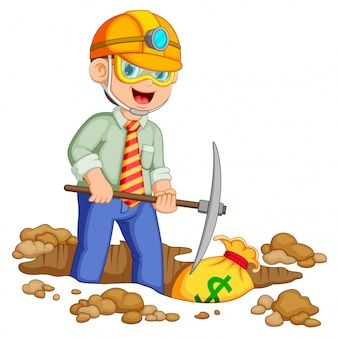 Бизнесмен копает золотые биткойн и доллар