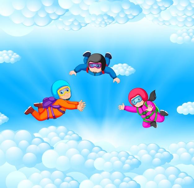 Инструкторы тренируют парашютиста