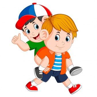 強い少年は彼の背中に彼の友人を運んでいます