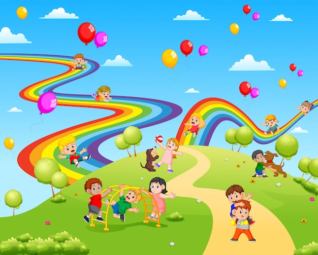 一緒に遊んでいる子供たちでいっぱいの美しい景色
