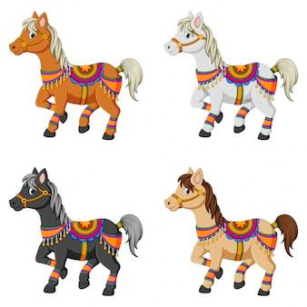 Набор иллюстрации мультфильм лошадей