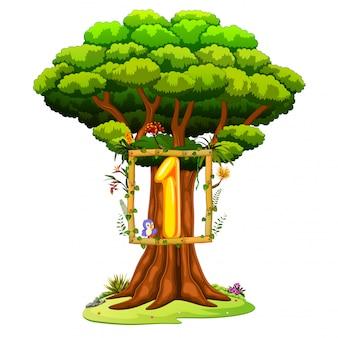 白い背景の上のナンバーワンの数字を持つ木