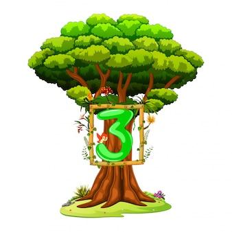 Дерево с цифрой три на белом фоне