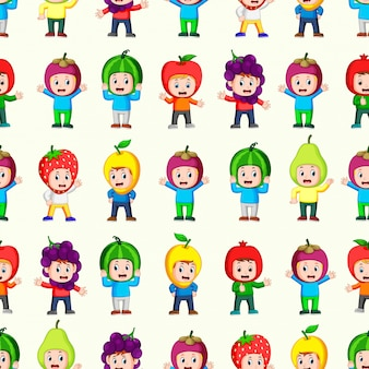 Безшовная картина с счастливыми детьми используя костюм плодоовощ