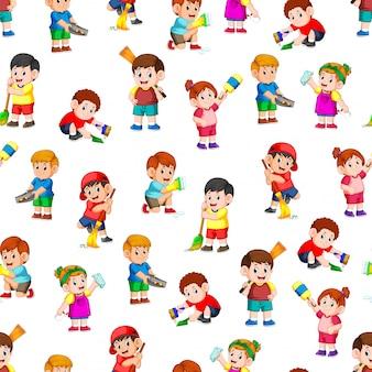 クリーニングツールを保持している子供たちとのシームレスなパターン