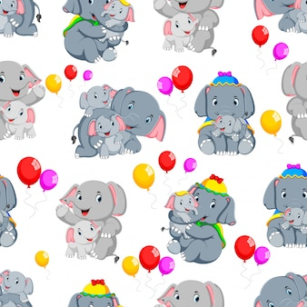Безшовная картина с счастливым слоном