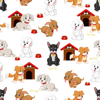 様々なかわいい犬とのシームレスなパターン