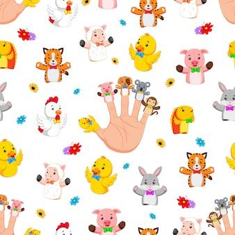 かわいい指の人形を着て手とのシームレスなパターン
