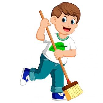 若い男が汚れを掃除
