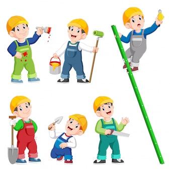 建設労働者の人々の漫画のキャラクターのポーズと仕事をして