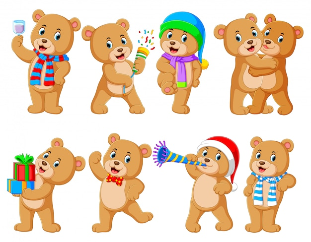 さまざまなポーズでかわいいクマのコレクション