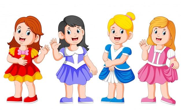 Симпатичные четыре прекрасные принцессы