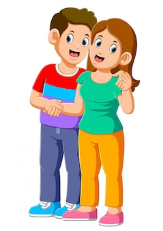 愛の若い幸せなカップル
