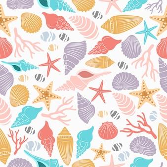 シェルとヒトデの海の生活のシームレスパターン