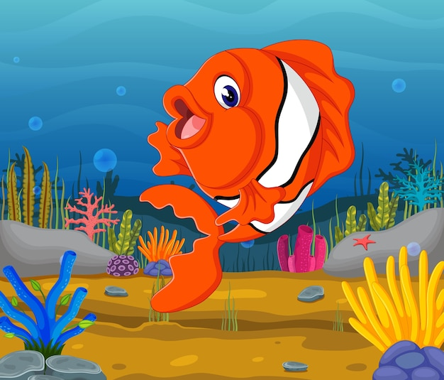 海のかわいい魚の漫画