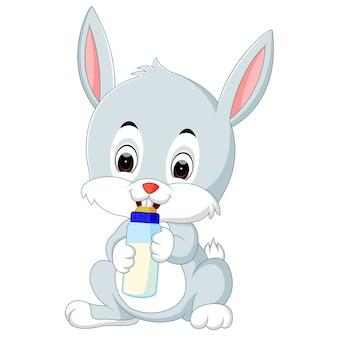 乳首で哺乳瓶の牛乳を持っているかわいいウサギ