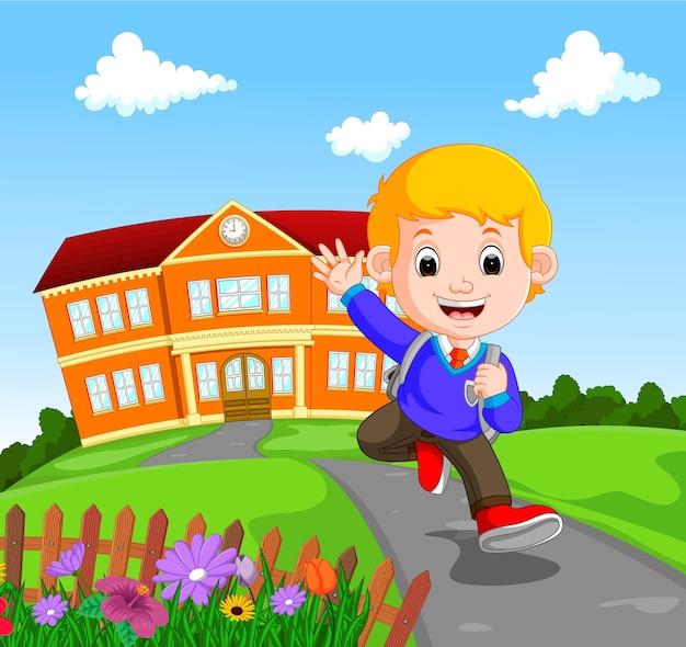 幸せな子供たちが学校に行く