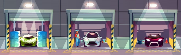 洗車サービスステーションの漫画イラスト。幸せな笑みを浮かべて労働者洗濯