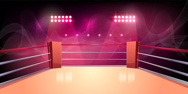 ボクシングのリング、戦い、危険なスポーツのための照らされたスポーツエリアの背景。