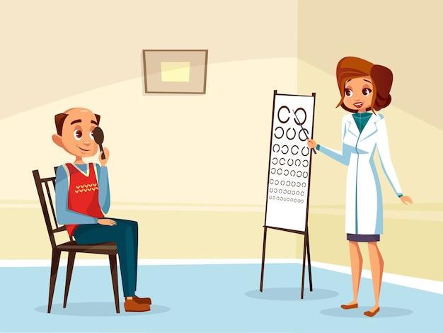 大人の患者に視力検査をしている漫画の女性の医者眼科医。