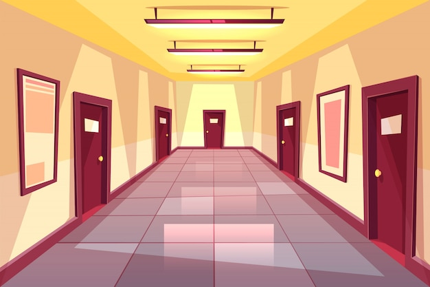 漫画の廊下、多くのドア - 大学、大学、事務所ビルの廊下。