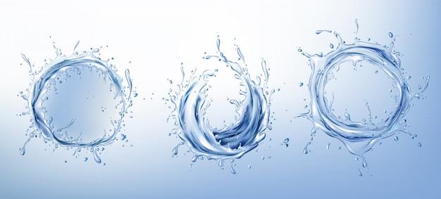 澄んだ水の輪がリアルなセットをはねかける