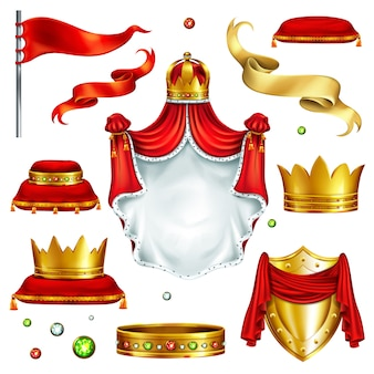 君主の権力のシンボルの大きなセット