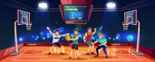 バスケットボールアリーナでチームゲームをプレイするスポーツの人々とベクトル漫画の背景。屋内プレイグラウンド