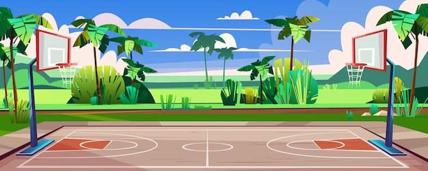 路上でバスケットボールコート