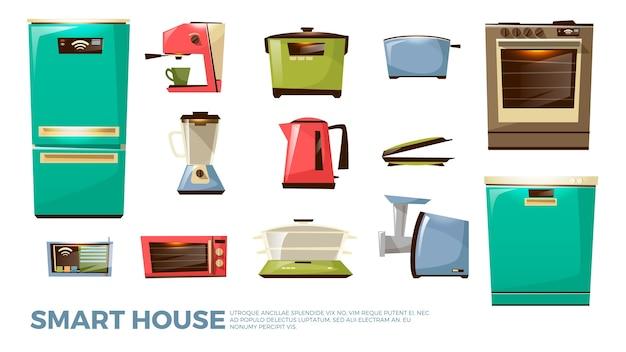 漫画のキッチン現代の電気器具セット。家庭用調理機器
