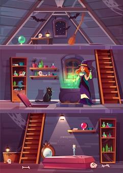 セラーと屋根裏部屋と魔女の家の断面図