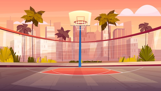 熱帯都市のバスケットボールコートのベクトルの漫画の背景