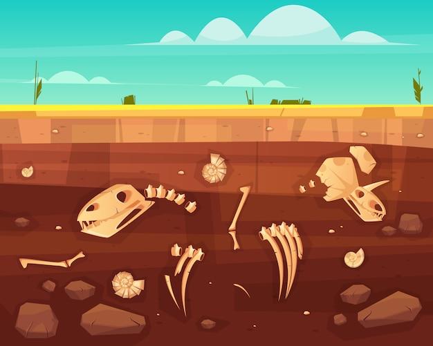 恐竜の頭蓋骨、爬虫類の骨格骨、土壌深層で古代の海の軟体動物の殻断面漫画のベクトル図。地球上の生命の歴史の概念。古生物学の科学の背景
