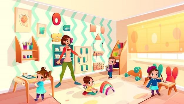 Женский дошкольный детский сад, воспитатель детского сада, играющий с детьми в современном
