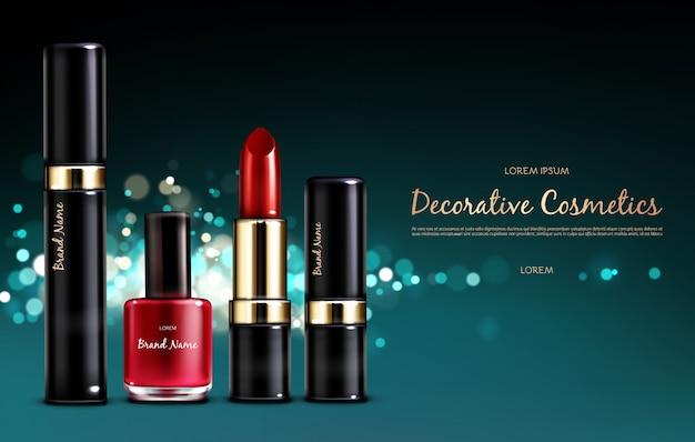 ベクトル現実的な化粧品プロモーションポスター