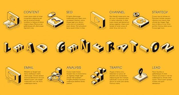 リードジェネレーションインターネットビジネスマーケティング戦略等角投影ベクトルバナー