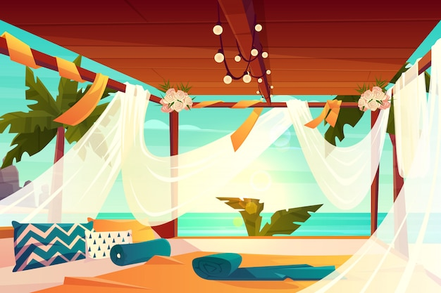 Охладите зону на роскошном, тропическом курорте мультфильм вектор. удобная терраса, украшенная цветами, покрытая белым солнцезащитным кремом из тюля и мягкими подушками на полу. отдых на берегу моря