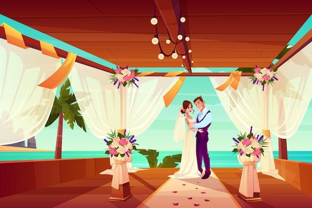 エキゾチックな国や熱帯のビーチでの結婚式結婚式の漫画のベクトルの概念。