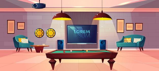 柔らかいアームチェアとソファのある家の地下室漫画ベクトルの家族のレジャーのための快適なレクリエーションルーム